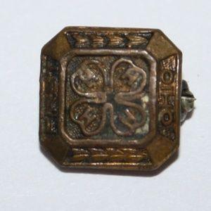 Vintage bronze 4H OHIO pin